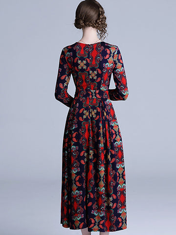 Vintage V-Neck Collect Waist Big Hem Floral Dress