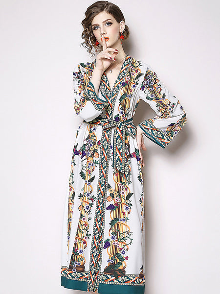 Stylish Print V-Neck Long Sleeve Belted Dress