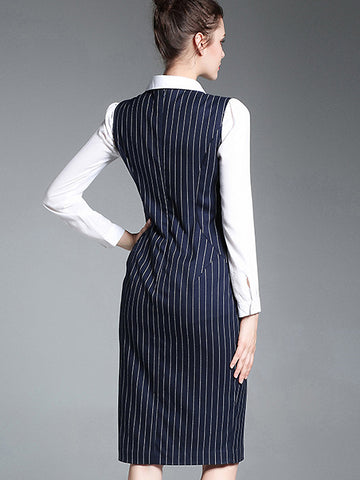 Stripe O-Neck Sleeveless Slit One-Step Dress
