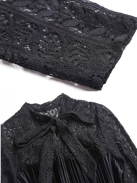 Hollow Out Lace Embroidery Solid Pleated A-Line Dress