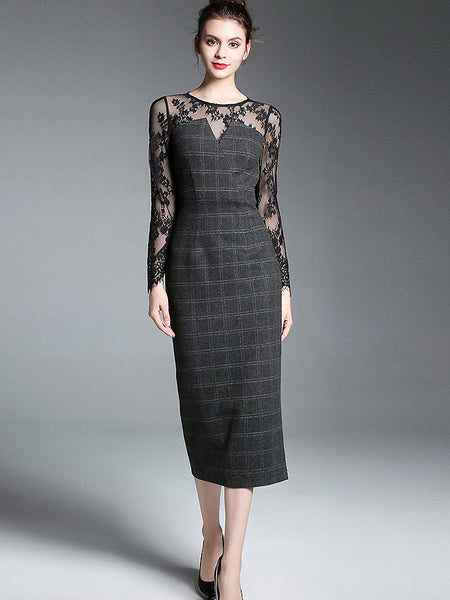 Hollow Out Lace Stitching O-Neck Long Sleeve Plaid Dress
