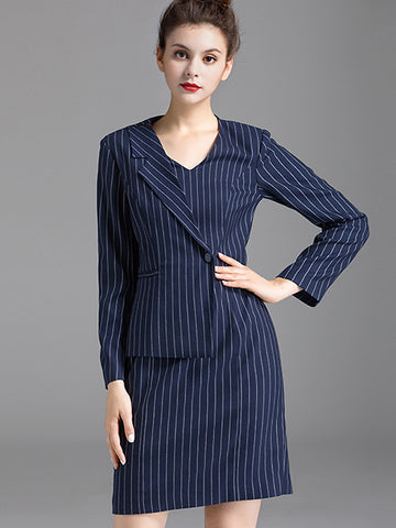 Stripe Irregular Lapel Collar Stitching Bodycon Dress
