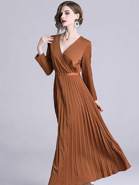 Chic Pure Color V-Neck Long Sleeve Pleated Dress