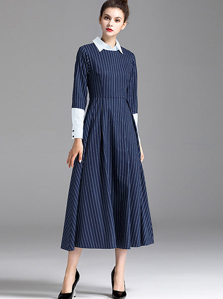 Fake Two Piece Stripe Turn-Down Collar Stitching Big Hem Midi Dress