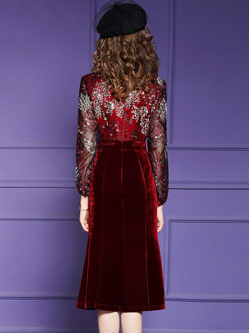 Velour Stitching Lace O-Neck Long Sleeve Fit & Flare Dress