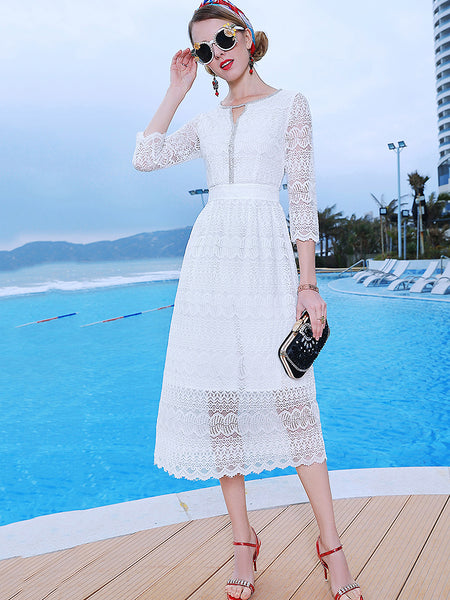 Lace Pure Color O-Neck Long Sleeve Collect Waist Midi Dress