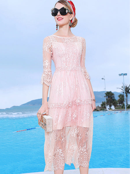 Stitching Lace See-Through Half Sleeve Big Hem Dress