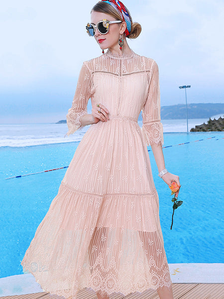 Chic Lace O-Neck See-Through Half Sleeve Midi Dress