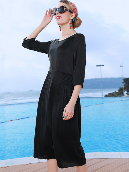 Silk Pure Color O-Neck 3/4 Sleeve Pleated Dress