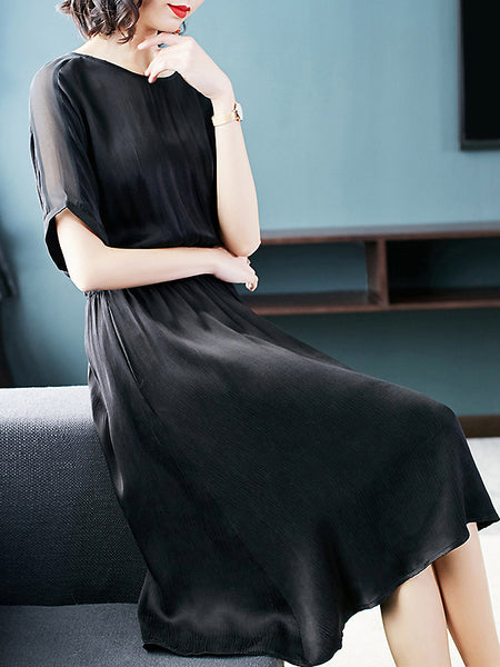 Silk Fake Two Piece O-Neck Short Sleeve Lacing Slit Dress