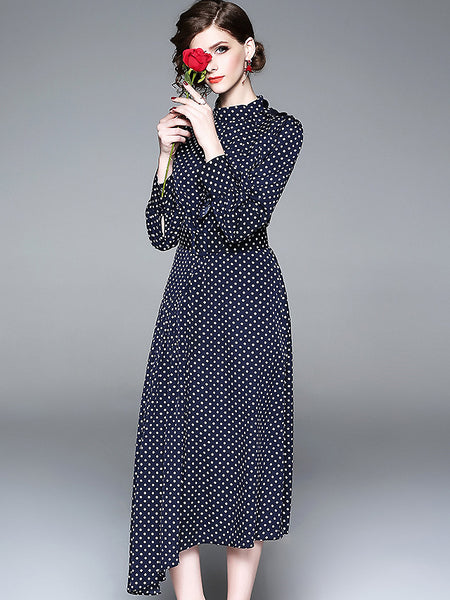 Brief Polka Dot Half-Collar Long Sleeve Skater Dress