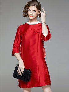 Pure Color Loose Ruffled Collar 3/4 Sleeve Slim A-Line Dress
