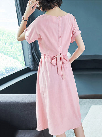 Casual Pure Color O-Neck Short Sleeve Lacing Slim A-Line Dress