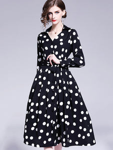 Polka Dot V-Neck Bowknot Lacing Big Hem Dress