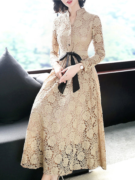 Hollow Out Lace V-Neck Long Sleeve Bowknot A-Line Dress