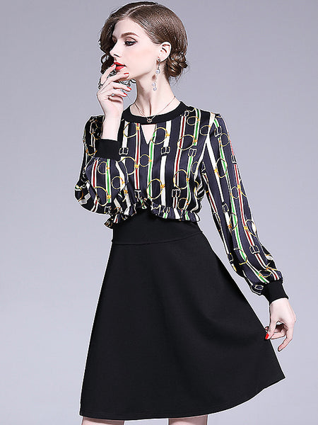Fake Two Piece Stripe O-Neck Long Sleeve Shirt & High Waist Dress