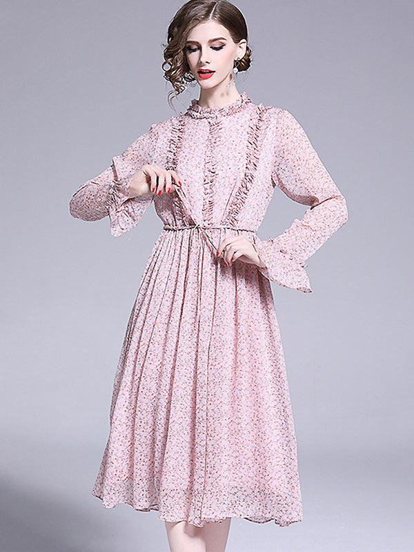 Sweet Chiffon Stand Collar Flare Sleeve Falbala Floral Dress