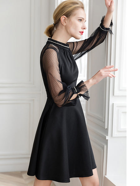 Elegant Pure Color Beaded Lace Sleeve Stitching Slim A-Line Dress