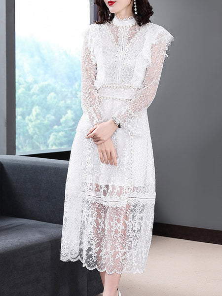 Simple Lace Stitching Pure Color See-Through Long Sleeve Dress