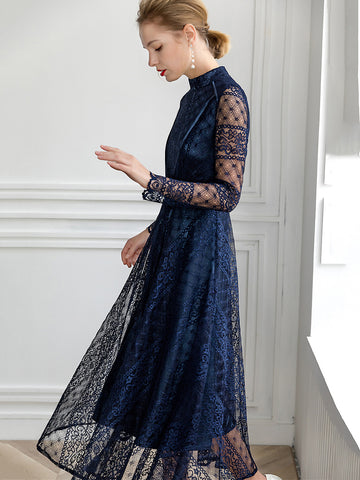 Embroidery Lace Stand Collar Long Sleeve Collect Waist Big Hem Dress