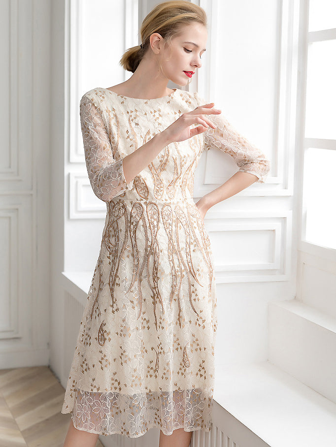 Embroidery Lace O-Neck Half Sleeve Collect Waist Print A-Line Dress