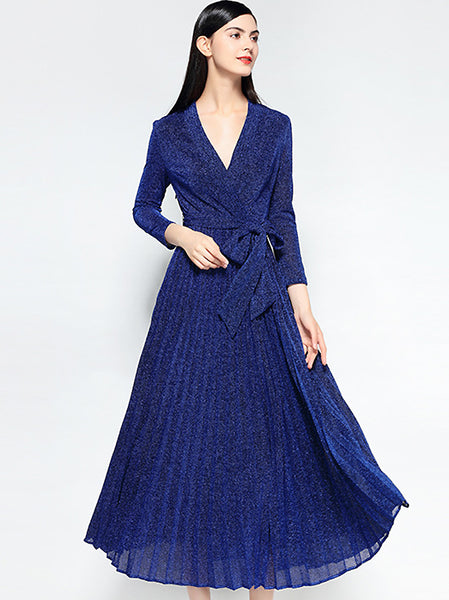 Chic V-Neck Long Sleeve Lacing Collect Waist Big Hem Dress