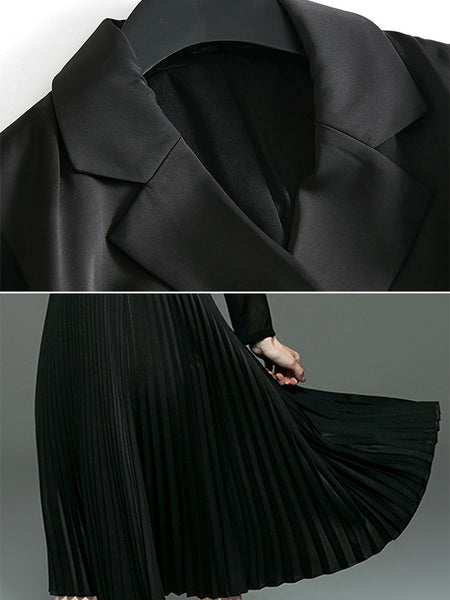 Black Lapel Collar Long Sleeve Pleated Midi Dress