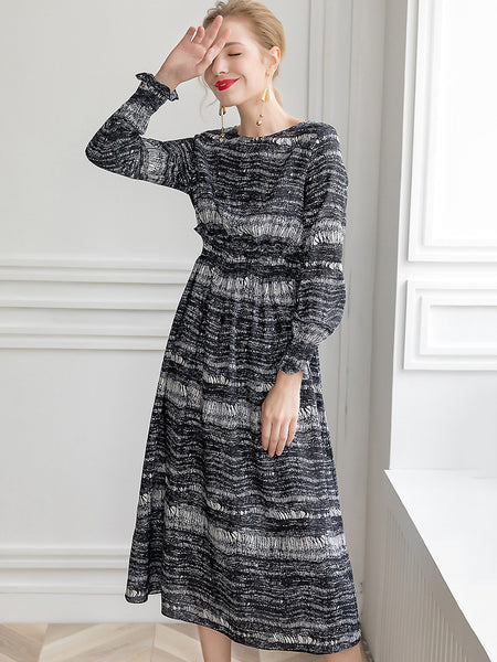 Hit Color Print O-Neck Puff Long Sleeve A-Line Maxi Dress