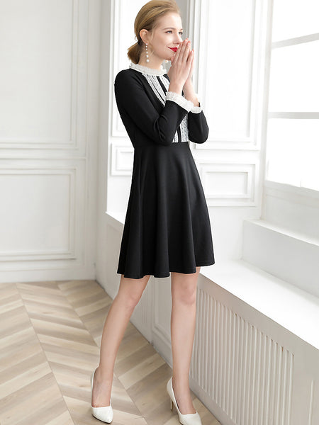 Slim Lace Stitching Stand Collar Long Sleeve Little Black Dress