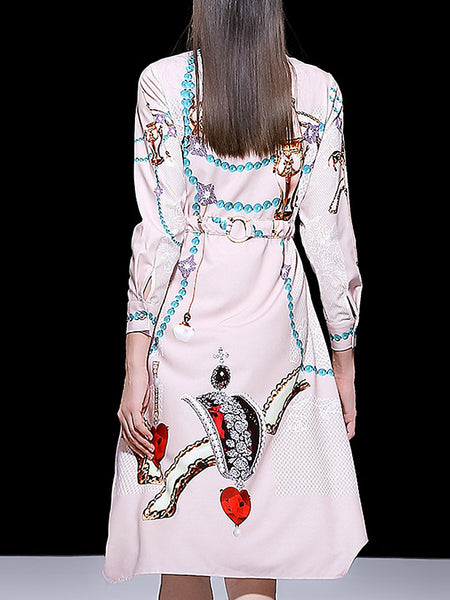 Print Beaded Turn-Down Collar Long Sleeve Lacing Irregular A-Line Midi Dress
