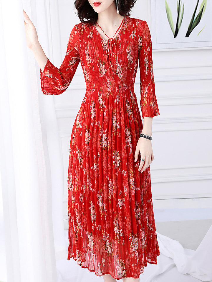 Chic Print V-Neck Long Sleeve Collect Waist Pleated Dress