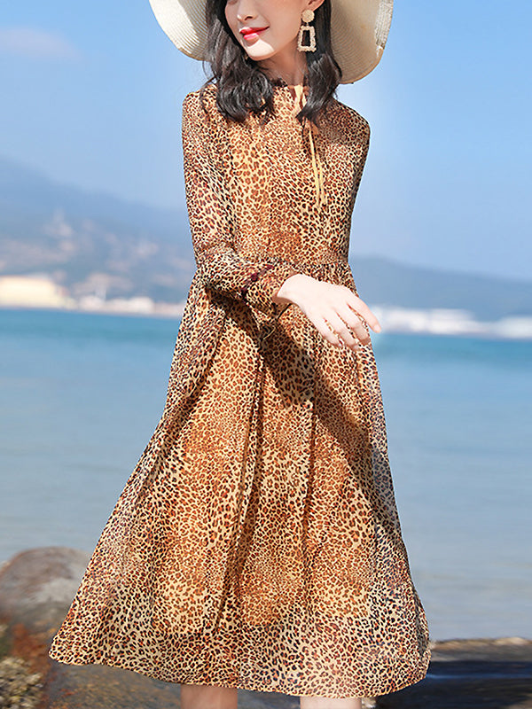 Elegant Leopard Print Long Sleeve Fit & Flare Dress