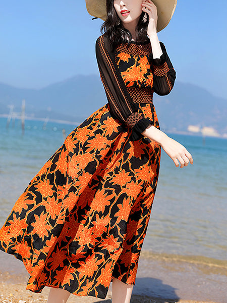 British Boat Neck Diamond Plaid Puff Sleeve Floral Dress