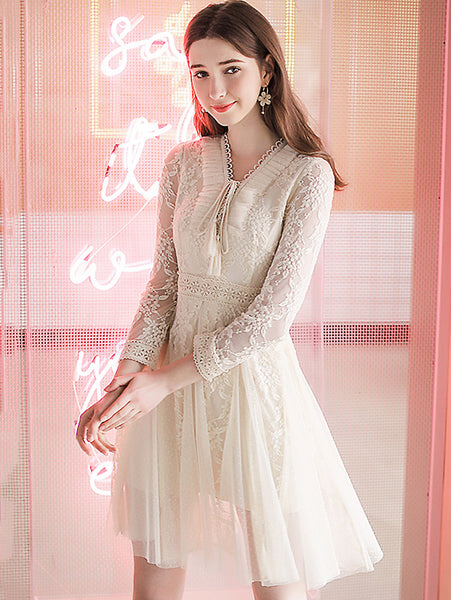 Hollow Out Lace V-Neck Long Sleeve Solid A-Line Dress