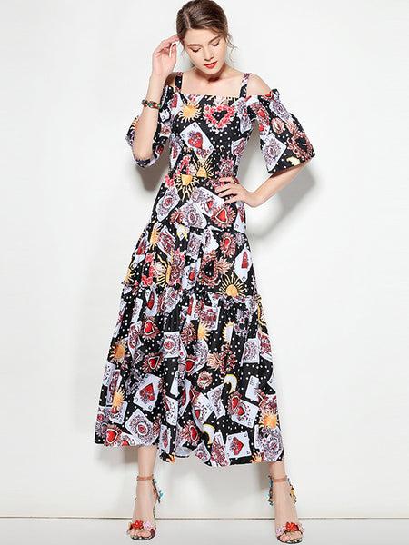 Fashion Print Strapless Half Sleeve Maxi Dress
