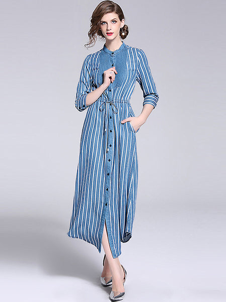 Stripe Stand Collar 3/4 Sleeve Single-Breasted Split Dress