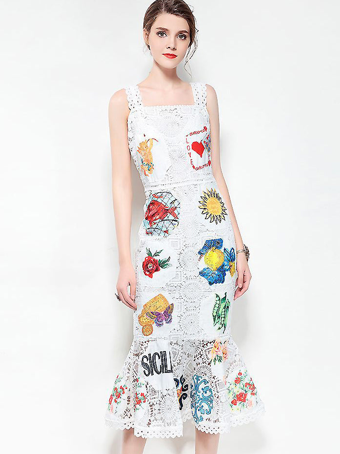 Stylish Embroidery Lace Sleeveless Mermaid Braces Dress