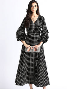 Simple Plaid V-Neck Falbala Sleeve Big Hem Dress