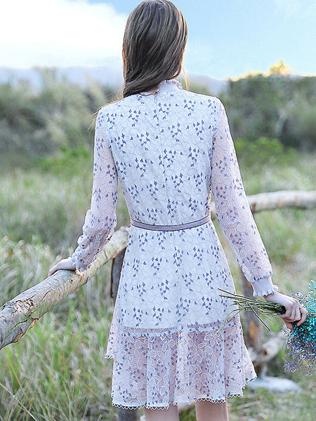 Chic Print Hollow Out Lace Long Sleeve O-Neck Falbala Midi Dress