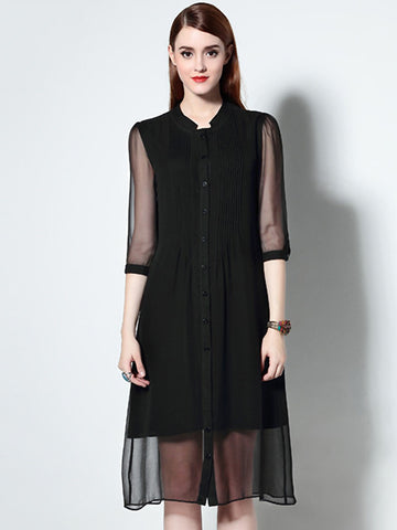 Silk Pure Color Stand Collar Half Sleeve Single-Breasted Dress
