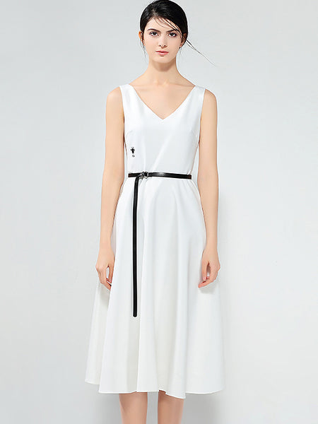 Brief V-Neck Sleeveless Collect Waist Belted Midi Dress