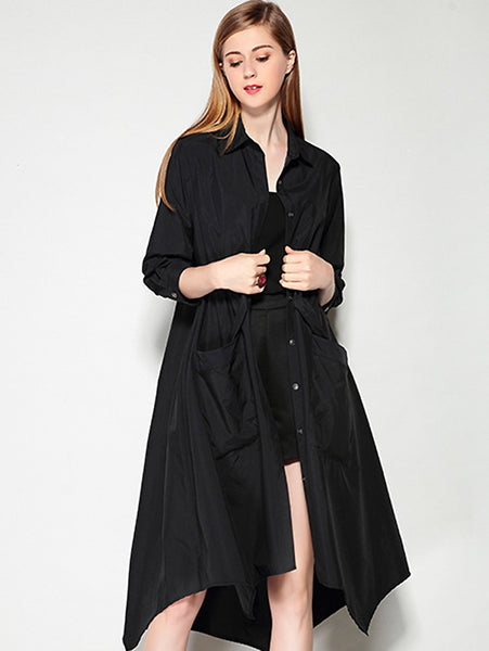 Casual Turn-Down Collar 3/4 Sleeve Lacing Shirtdress