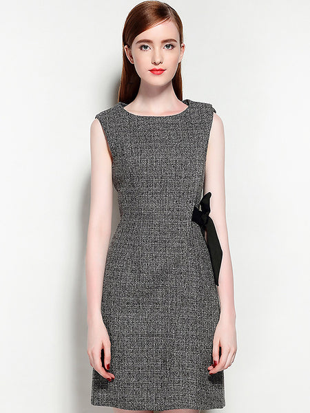 Sweet Cotton O-Neck Sleeveless Lacing Dress