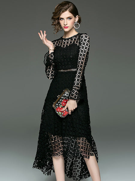 Brief Lace Pure Color Hollow Out Crochet Flare Sleeve Dress