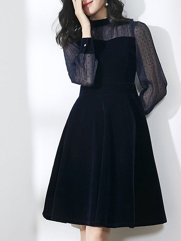 Stitching Velour O-Neck Long See-Through Sleeve Fit & Flare Dress