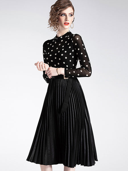 Polka Dots Stitching Belted O-Neck Long Sleeve Pleated Dress
