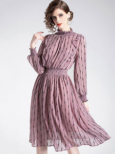 Elegant Ruffled Stand Collar Long Sleeve Collect Waist Midi Dress