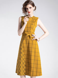 Plaid Stitching O-Neck Sleeveless Bowknot A-Line Midi Dress
