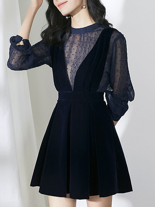 Two Pieces Stitching O-Neck See-Through Shirt & Velour Braces Dress