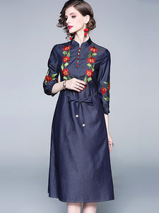 Cotton Embroidery Stand Collar 3/4 Sleeve Lacing Denim Dress